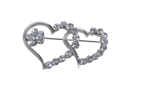eSmartDeals-White Color Crystal Zink Alloy Brooch-ESD3809