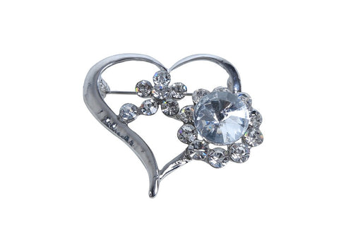 eSmartDeals-White Color Crystal Zink Alloy Brooch-ESD3985