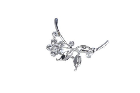 eSmartDeals-White Color Crystal Zink Alloy Brooch-ESD3986