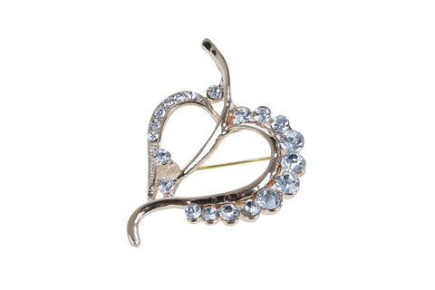 eSmartDeals-White Color Crystal Zink Alloy Brooch-ESD3990