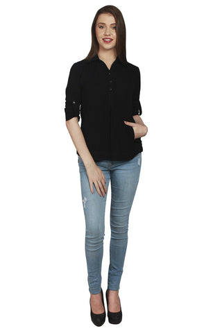 URSENSE-Black Color Cotton Shirt-ETE-7124