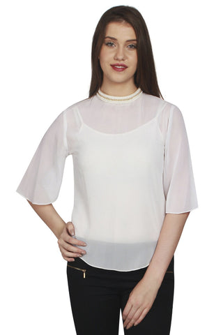 URSENSE-White Color Georgette Top-ETE-7125
