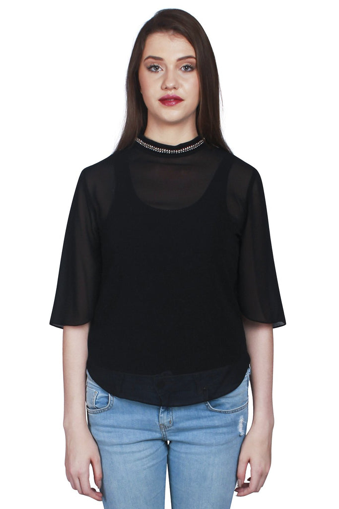 Black Color Georgette Top