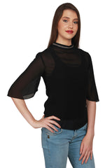URSENSE-Black Color Georgette Top-ETE-7126