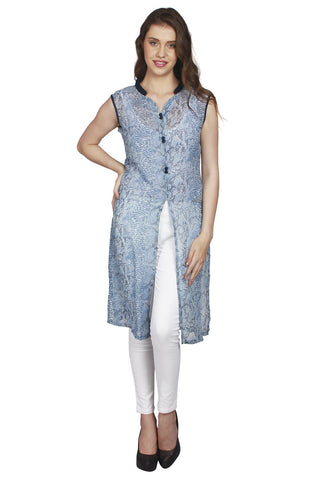 URSENSE-Blue Color Hosery Shrug-ETE-7129
