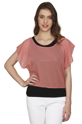 URSENSE-Orange Color Georgette Top-ETE-7133