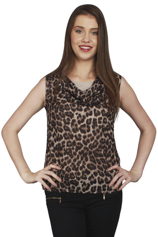 URSENSE-Brown Color Georgette Top-ETE-7134