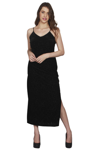 URSENSE-Black Color Velvet Dress - ETE-7135