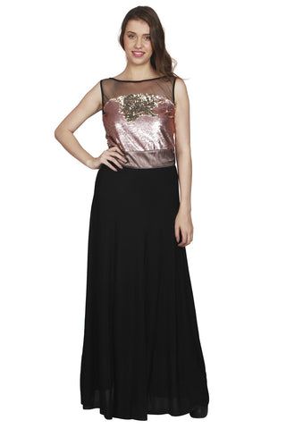 URSENSE-Black Color Polyester Dress - ETE-7137