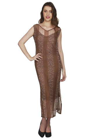 URSENSE-Brown Color Lace Dress - ETE-7140-Brn