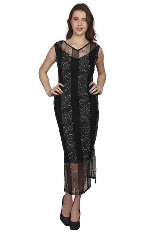 URSENSE-Black Color Lace Dress - ETE-7140Blk