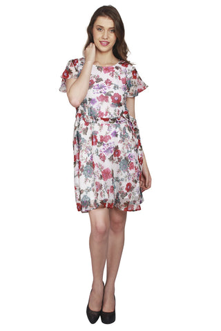 URSENSE-White Color Poly Crepe Dress - ETE-7144