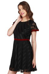 URSENSE-Black Color Satin Dress - ETE-7146