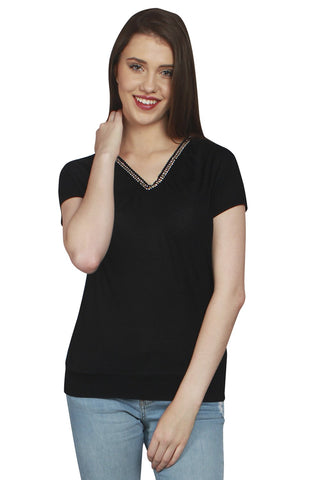 URSENSE-Black Color Hosery Top-ETE-7152