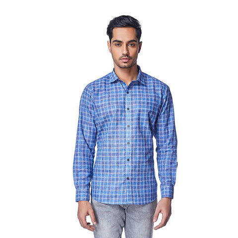 Blue  Color Cotton Linen Mens Shirt - BlueMadras