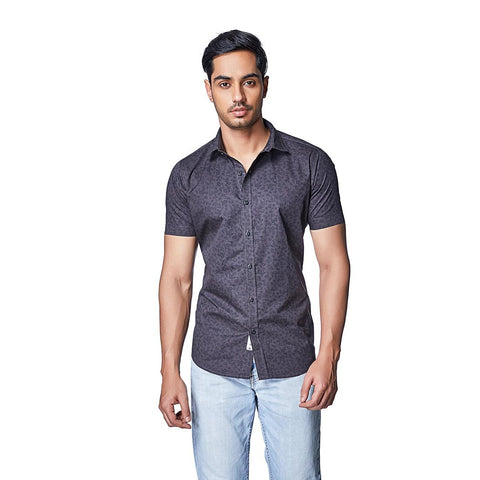 Grey Color Cotton Mens Shirt - CacaoBean
