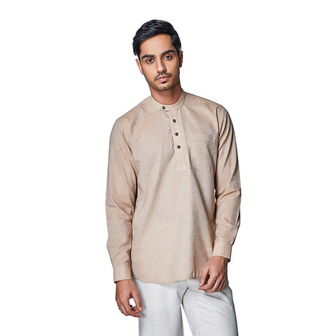 Brown Color Cotton Linen Mens Shirt - DessertSand
