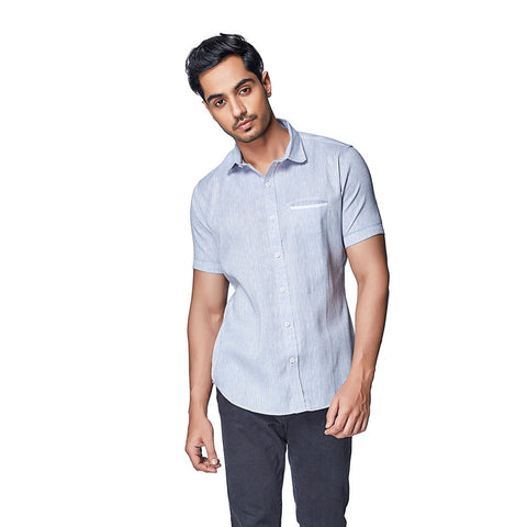 Grey Color Cotton Linen Mens Shirt - IceGrey