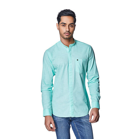 Green Color Cotton Linen Mens Shirt - MintSorbet