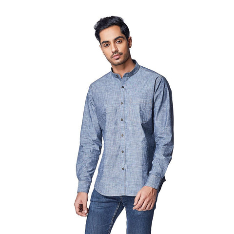 Blue Color Cotton Mens Shirt - OceanGray