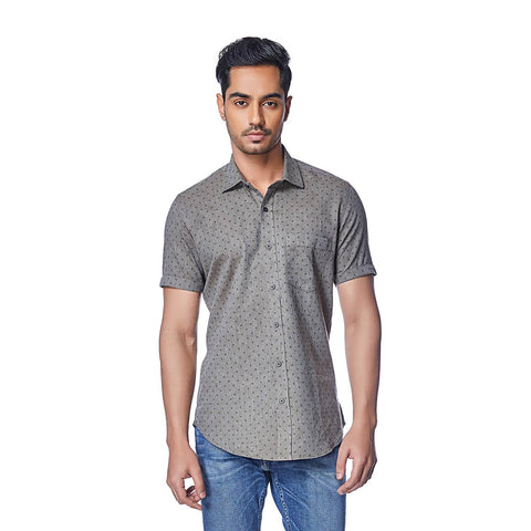 Grey Color Cotton Mens Shirt - OliveMelange