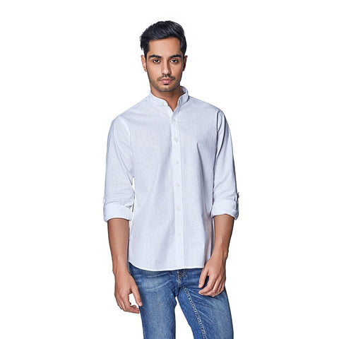 White Color Cotton Linen Mens Shirt - PolarWhite