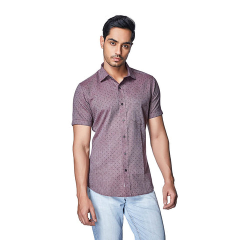 Pink Color Cotton Mens Shirt - SalmonMelange