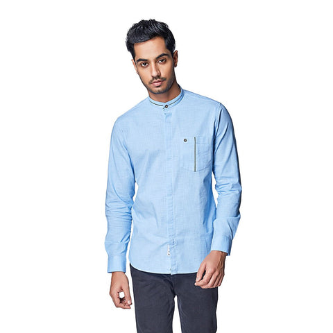 Blue Color Cotton Linen Mens Shirt - SkySorbet