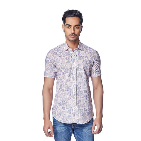 Pink Color Cotton Linen Mens Shirt - StripedFlora