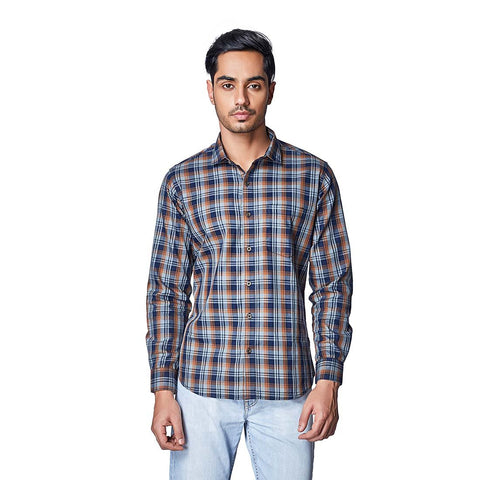 Brown Color Cotton Mens Shirt - ENVOSummerOchre