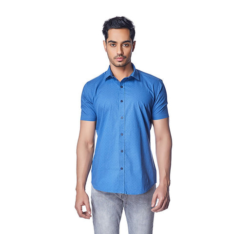 Blue Color Cotton Mens Shirt - TheMillennial