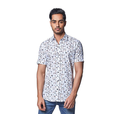 White Color Cotton Linen Mens Shirt - TropicalFern