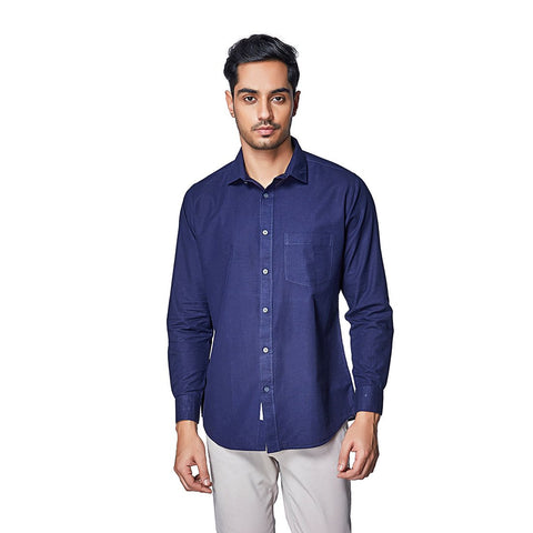 Navy Blue Color Cotton Linen Mens Shirt - ENVOVintageBlue