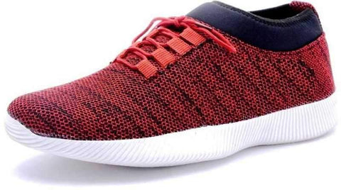 Red Color Mesh Men's Shoes - Elastic-Red