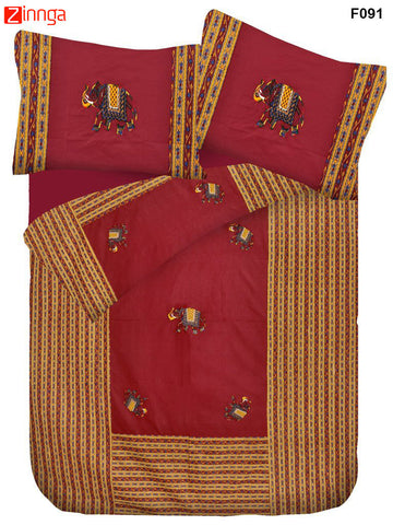FEMEZONE-Beautiful Maroon Color Cotton  Double Bed Sheet With Traditional Elephant Patch Work - F091