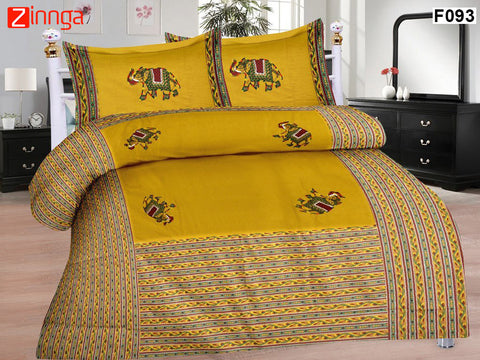 FEMEZONE-Beautiful Yellow Color Cotton  Double Bed sheet With Traditional Elephant PATCH work - F093