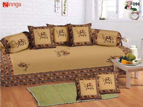 FEMEZONE-Beautiful Beige Color Cotton  Diwan Set of 8 pcs With Traditional Elephant Patch Work - F096