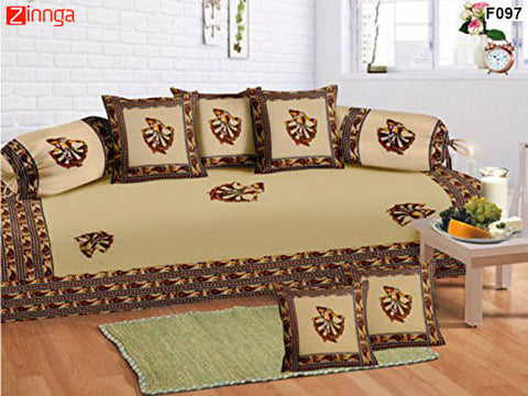 FEMEZONE-Beautiful Beige Color Cotton  Diwan Set of 8 pcs with Traditional Patch Work - F097