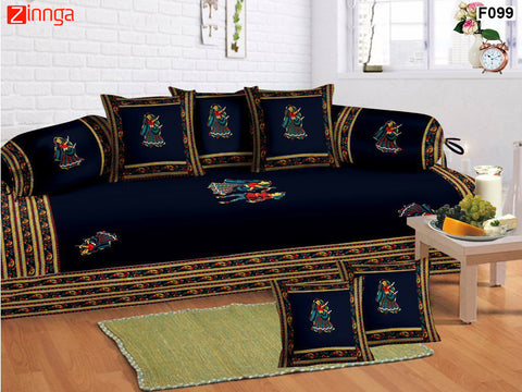 FEMEZONE-Beautiful Blue Color Cotton  Diwan Set of 8 pcs with Traditional Patch Work - F099