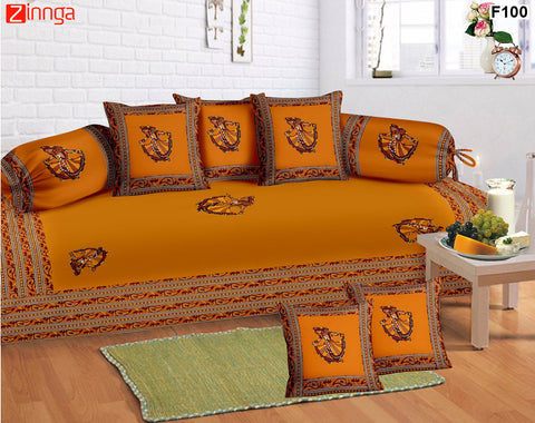 FEMEZONE-Beautiful Haldi Color Cotton  Diwan Set of 8 pcs with Traditional Patch work - F100