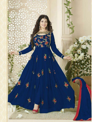 Blue Color 60grm Georgette Un Stitched Salwar - F1017