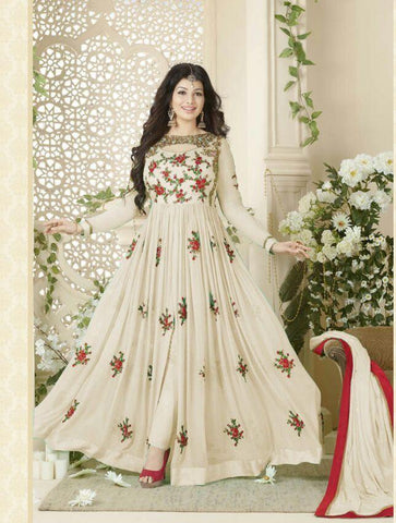 Beige Color 60grm Georgette Un Stitched Salwar - F1019