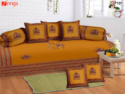 FEMEZONE-Beautiful Haldi Color Cotton  Diwan Set of 8 pcs with Traditional Patch work - F101