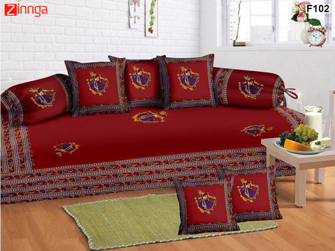FEMEZONE-Beautiful Maroon Color Cotton  Diwan Set of 8 pcs with Traditional Patch work - F102