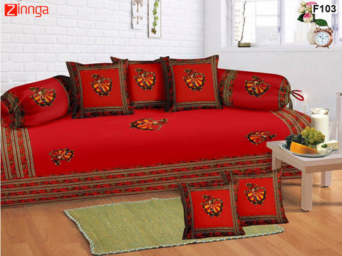 FEMEZONE-Beautiful Red Color Cotton  Diwan Set of 8 pcs with Traditional Patch Work - F103