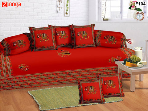 FEMEZONE-Beautiful Red Color Cotton  Diwan Set of 8 pcs with Traditional Patch Work - F104