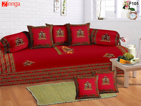 FEMEZONE-Beautiful Red Color Cotton  Diwan Set of 8 pcs with Traditional Patch Work - F105