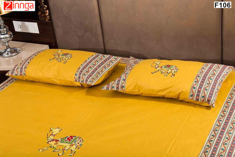 FEMEZONE-Beautiful Yellow Color Cotton  Diwan Set of 8 pcs with Traditional Patch Work - F106