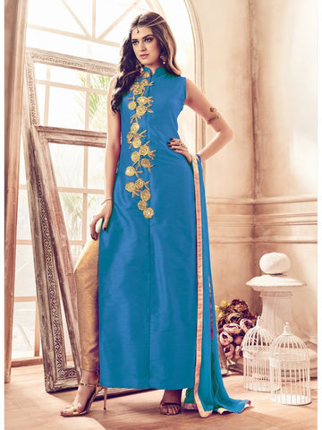 Turquoise Color Banglori Silk Un Stitched Salwar - F1077