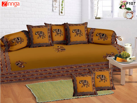 FEMEZONE-Beautiful Haldi Color Cotton  Diwan Set of 8 pcs with Traditional Patch Work - F107